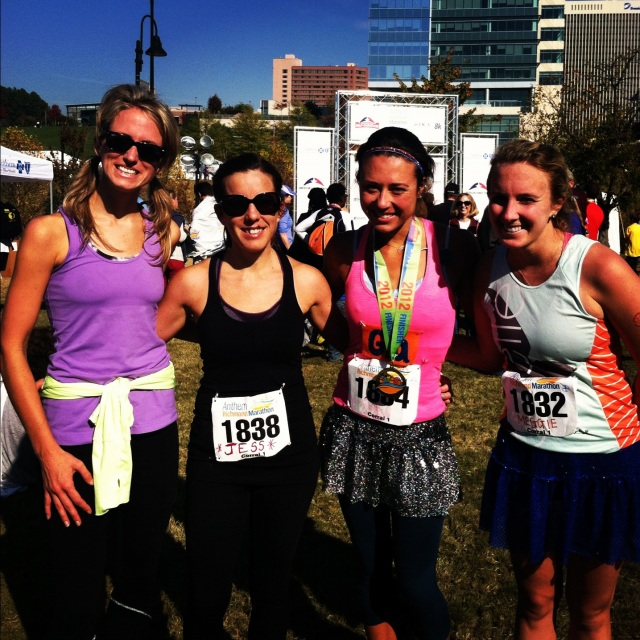 Katherine (our hostess), Jess, Gia, and I after the Richmond Marathon.