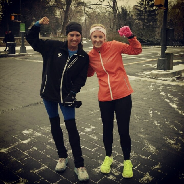 So thankful for my #sisterinsport Gia - friends make a workout fly by! After 6 x 1 mile on a cold day in February!