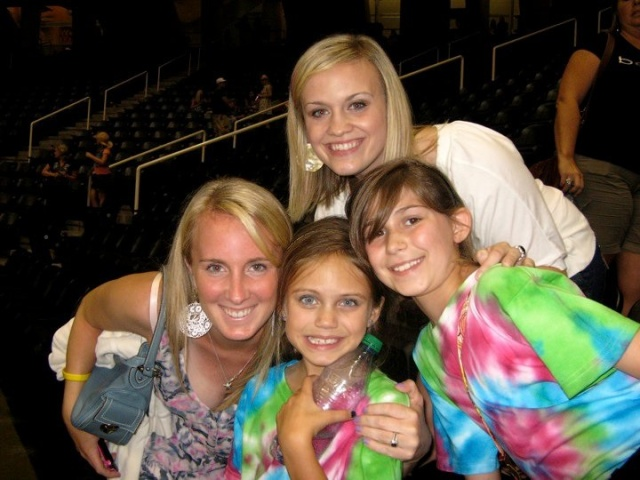 At a Taylor Swift concert...Ally and I helped them make those tie dyed t shirts.